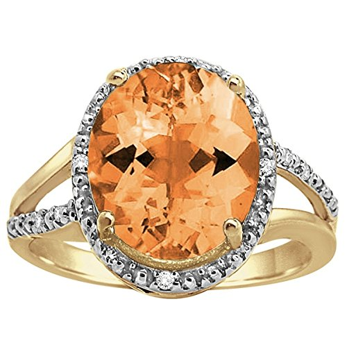 Citrine Shaped Ring Oval (Oval Shaped Citrine and Diamond Ring in 10K Yellow Gold)