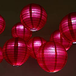 "WYZworks Round Paper Lanterns (Red, 10"") with Cool White LED light bulbs 10 Pack - with 8"", 10"", 12"", 14"", 16"" option"