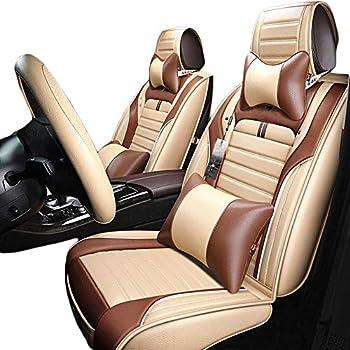Luxury Beige Microfiber Leather Car Seat Covers Full Set Universal Fit for Mazda KIA Nissan Honda Jeep