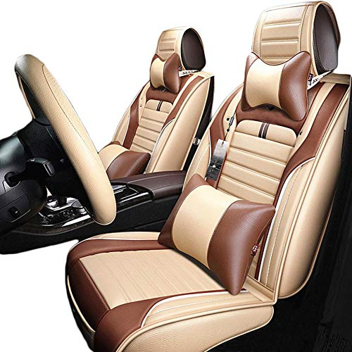 (GRACE ROAD Luxury Microfiber Leather Car Seat Cover Set Universal Car Seat Cushion Cover Waterproof Cover Full Set Car Seat)