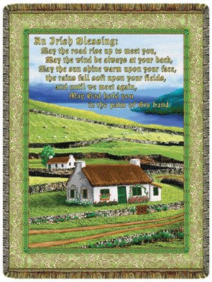 Simply Home Irish Blessing Tapestry Throw Blanket USA Made SKU 10208