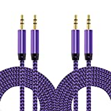 Aux Cable, [2 Pack, 5FT, Nylon Braided] CableLovers 3.5mm Male to Male Stereo Audio Aux Cable, Hi-Fi Sound Quality Audio Cable for Car Stereos, iPhone, iPad, Beats Solo 2 3 Headphones, Samsung Galaxy