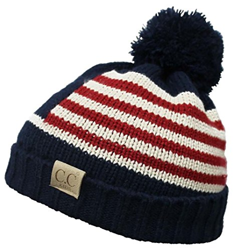 American Cycle Accessories (H-6847-DA4-31 Funky Junque Kids Pom Beanie - American Flag (Navy))