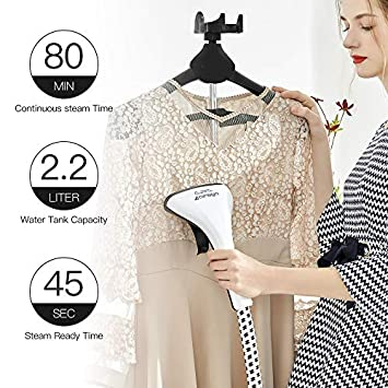 Cirago LS-609C Professional Heavy Duty Hanging Clothes Steamer,2.2 L 74OZ 80min of Continuous, 2 Level Steam Adjustment, with Fabric Brush Garment Hanger Anti-scalding, 2.2L, White Black