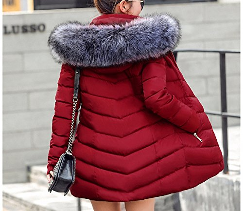 Womens Parka Jaqueta Feminina Inverno 3Xl Fur Collar Hooded Parkas Hooded Winter Jacket Coat Female Thick Warm Quilted Coat Burgundy S