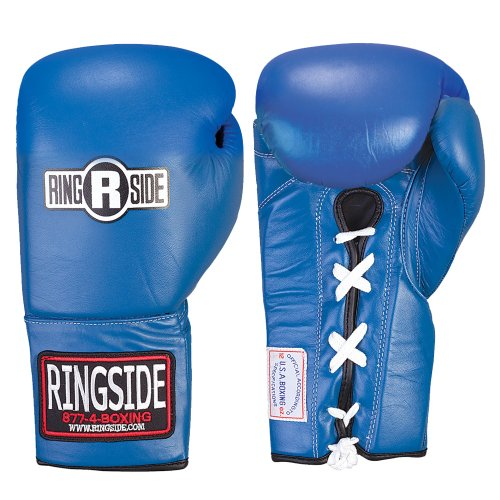 Ringside Competition Safety Gloves - Lace-Up (Blue, 12-Ounce)