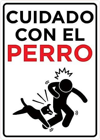 Oedim Señal Cuidado con el Perro | Tamaño A5 (14,8x21cm) | Decoración Pared | Aluminio 3 mm Resistente