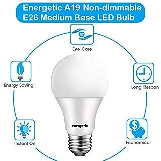 4 Pack A19 LED Light Bulbs, 60W 2700K Soft White Energy Saving Light Bulbs, 750 Lumens, Non-dimmable, UL Listed, E26 Base