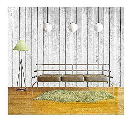 White Wall Texture - wall26 - white wood texture of rough fence boards background - Removable Wall Mural | Self-adhesive Large Wallpaper - 100x144 inches