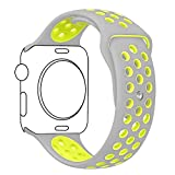 Ocydar Apple Watch Band, Soft Silicone Nike+ Sport Style Replacement iWatch Strap Band for Apple Watch Series 1 Series 2, Apple Watch Nike+, M/L Size - 42MM Silver / Volt Yellow