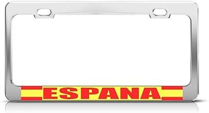 Bandera de España español Espena país Metal License Plate Frame Tag Holder: Amazon.es: Coche y moto