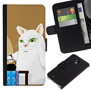 All Phone Most Case / Oferta Especial Cáscara Funda de cuero Monedero Cubierta de proteccion Caso / Wallet Case for Samsung Galaxy S4 Mini i9190 // Funny Tea Rabbit