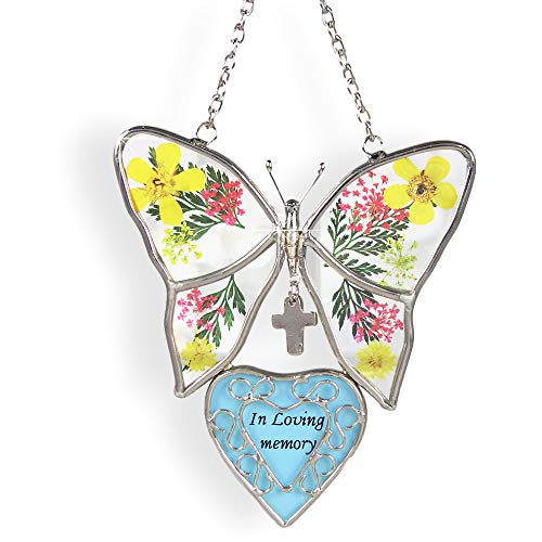 BANBERRY DESIGNS In Loving Memory Butterfly Stained Glass with Flowers Suncatcher