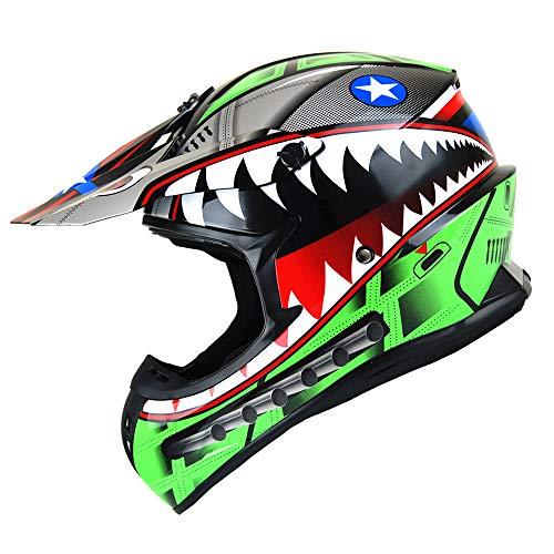 1Storm Adult Motocross Helmet BMX MX ATV Dirt Bike Downhill Mountain Bike Helmet Racing Style HKY_SC09S; Shark Green