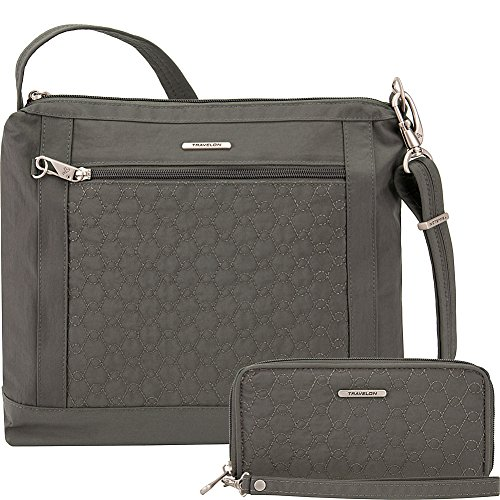 Travelon Anti-Theft Square Crossbody and Wallet Set - Medium RFID Lined Handbag for Travel & Everyday