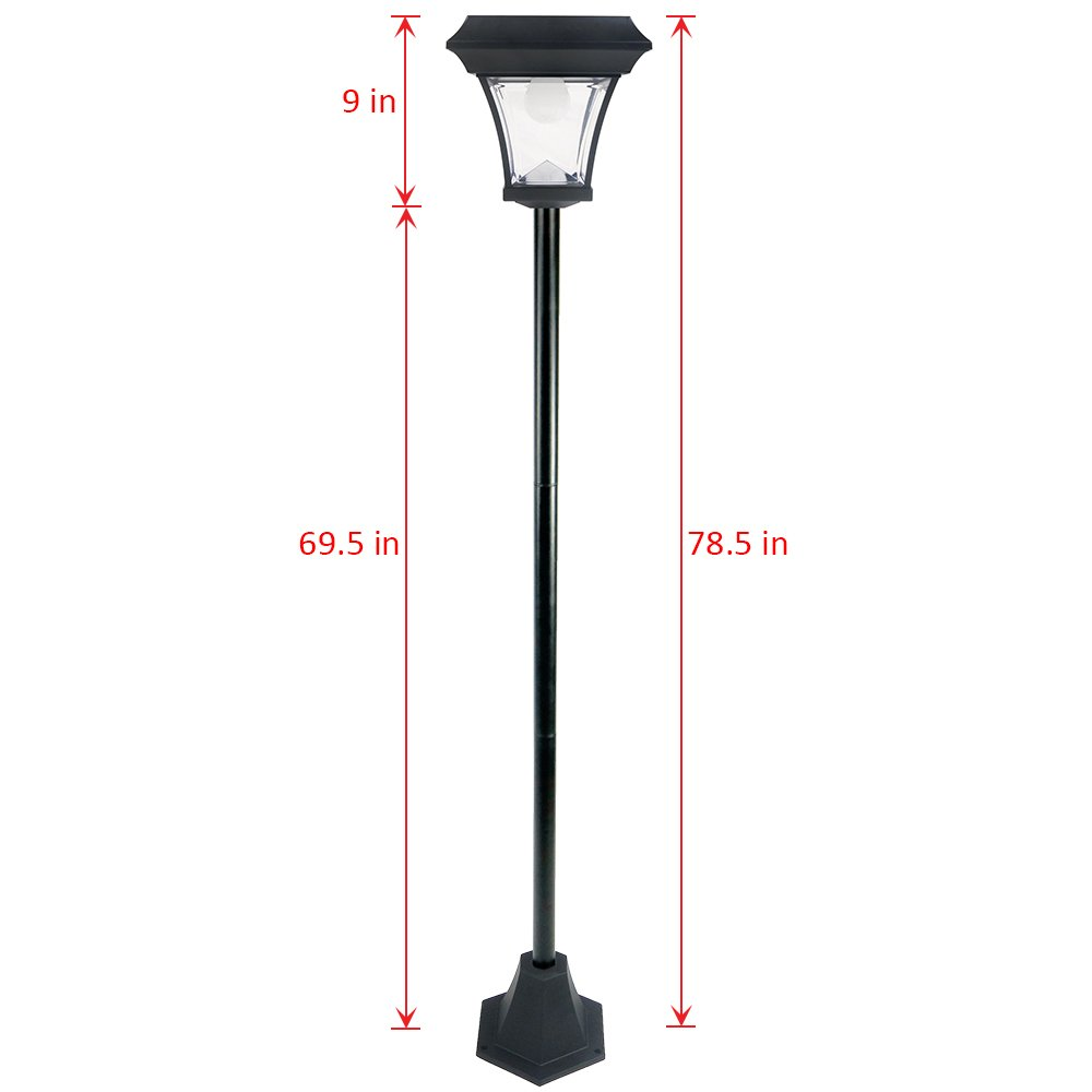 iGlow Outdoor Garden Solar Lamp Post Light w/ 2 Bright White SMD LED Streetlight Style Landscape Path Deck Dual Purpose