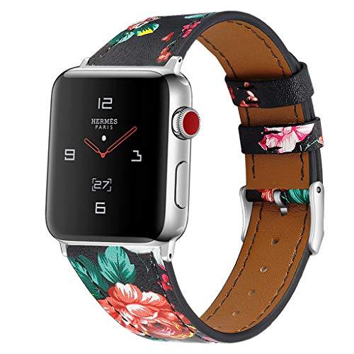 (Kariwell Deluxe Leather Denim Bracelet Watch Strap for Aple Watch Series 1/2/3/4 38 / 40mm Kari-1)