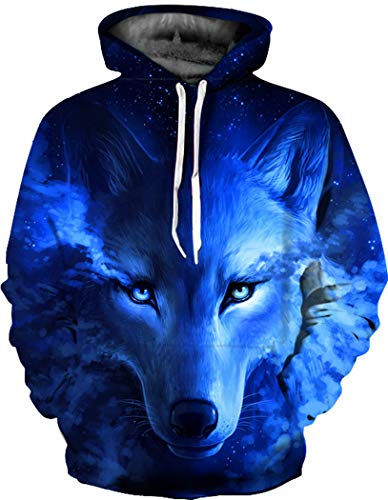 BarbedRose Realistic 3D Print Reindeer Pullover Hooded Sweatshirt Hoodies with Big Pockets,Wolf,L/XL