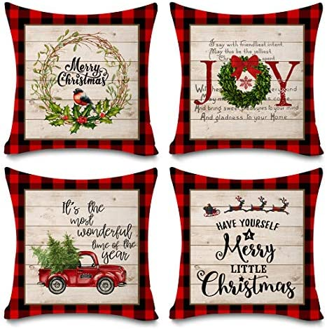 Faromily Buffalo Plaid Christmas Pillow Covers Farmhouse Decorative Throw Pillow Cases 18 X 18 Inch Set Of 4 Christmas Decoration Home Kitchen