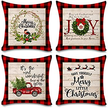 Faromily Buffalo Plaid Christmas Pillow Covers Farmhouse Decorative Cotton Linen Throw Pillow Cases 18 x 18 Inch Set of 4 Christmas Decoration