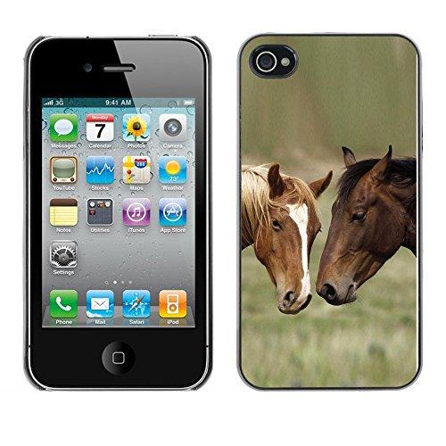 Omega Case PC Polycarbonate Cas Coque Drapeau - Apple iPhone 4 / 4S ( Horse Friends )