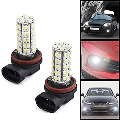 68 SMD 12V 3528 H8 H11 6000K White Halogen Xenon LED Bulb High Beam Daytime Running Light