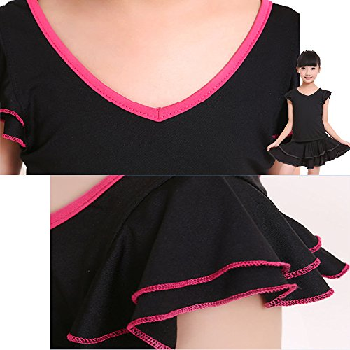 Bozevon Senza Latino Abito Abbigliamento set Danza Da Maniche Vestito Ragazze Nero Ballo Costume Top Nero Bambini rosso Gonna zzrqf