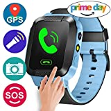 GBD Smart Watch Phone for Kids Girls Boys GPS Tracker Summer Sport Outdoor Prime Birthday Gifts with Camera SIM Calls Anti-lost SOS Wristband Bracelet for iPhone Android Smartphone (Blue)