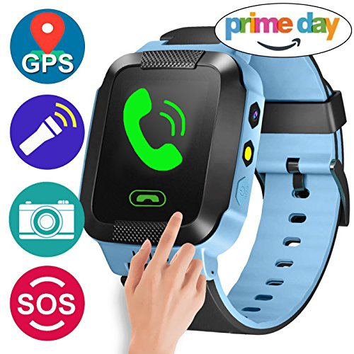 Sim Touch Cell Phone - GBD GPS Tracker Kids Smart Watch for Children Girls Boys Summer Outdoor Birthday Prime Gifts with Camera SIM Calls Anti-lost SOS Smartwatch Bracelet for iPhone Android Smartphone (Blue)