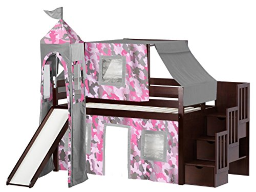 JACKPOT! Princess Low Loft Stairway Bed with Slide Pink Camo Tent and Tower, Loft Bed, Twin, Cherry