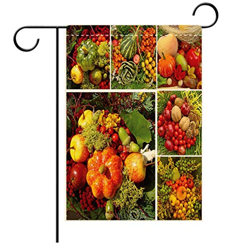 Polyester and linen Garden Flag Outdoor Flag House Flag BannerHarvest Photograph of Products from Various Gardens and Fields Seasonal Foods Apple Walnuts Decdecorated for outdoor holiday gardens
