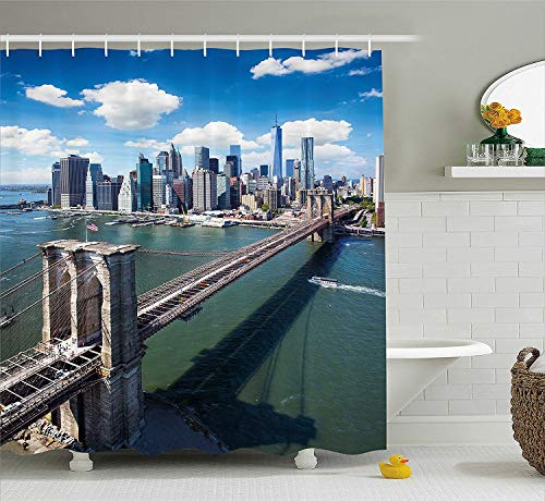 Landscape Shower Curtain, Aerial View of Brooklyn Bridge New York USA Cityscape Modern River Scenery, Fabric Bathroom Decor Set with Hooks, 60 W x 72 L inches, Beige Blue Green