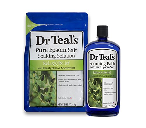 (Dr Teal's Epsom Salt Soaking Solution and Foaming Bath with Pure Epsom Salt, Eucalyptus 3lb Bags, and 34oz Bottle)
