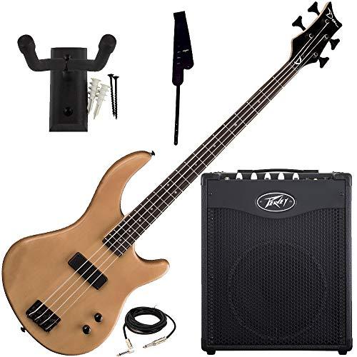 Dean Edge 09 Satin Natural Bass Guitar, Peavey Max 112 Amp, Strap, Hanger