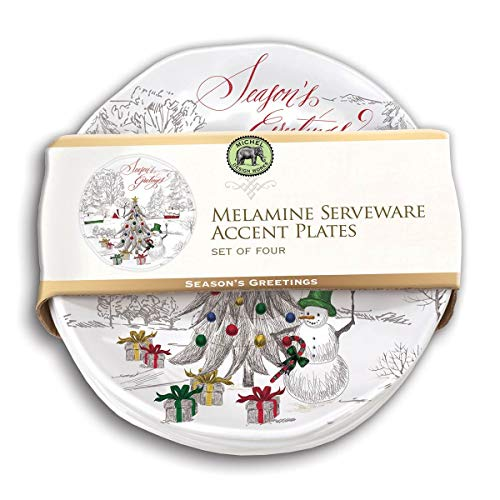 Michel Design Works Accent Plate Set of 4, Season's Greetings