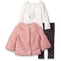 Calvin Klein Baby 3 Piece Jacket Set, Pink, 3/6 Months