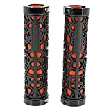 LooBooShop Bicycle Lock on Comfort Rubber Handle Grips Bike Handlebar Grips(Black and Red)