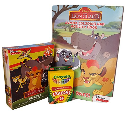 Disney Junior The Lion Guard - 24 Piece Jigsaw Puzzle and Coloring Books with Crayola Crayons (Lip Coloring Crayon)