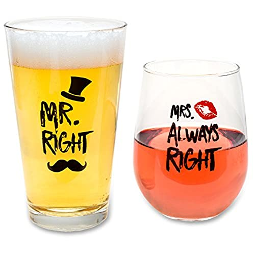 Best wedding gifts amazon funny wedding gifts mr right and mrs always right novelty wine glass beer glass combo engagement gift for couples junglespirit Choice Image
