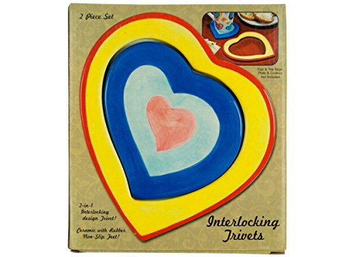 Ceramic 2 In 1 Interlocking Heart Trivets - Pack of 30 by bulk buys