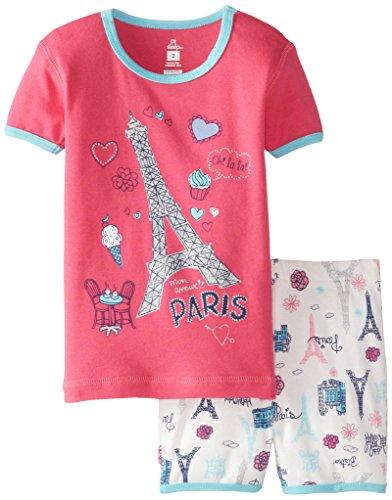 Petit Lem Little Girls' Paris Me Voila Short Sleeve Pajamas, Pink/White, 4