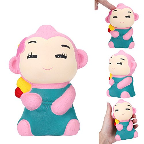 PLENTOP 1PC Smiling Monkey cented Charm Slow Rising Squeeze Stress Reliever Toy