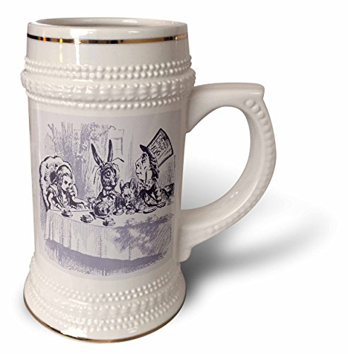 Nursery Rhymes Tea (Florene Nursery Rhymes And Fairytales - Image of Alice Wonderland Mad Tea Party In Violet - 22oz Stein Mug (stn_234698_1))