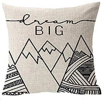 QINU KEONU Elephant Deer Mountains Cotton Linen Throw Pillow Case Cushion Cover Home Sofa Decorative 18 X 18 Inch (1)