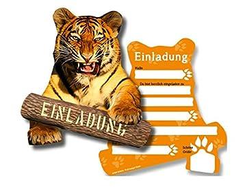 6 Einladungskarten * TIGER * Für Kindergeburtstag Oder Zoo Gebeburtstag //  Von DH