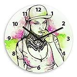 Graffiti Girl Wooden Wall Clock Silent Non-ticking Wall Clocks Decorative for Living Room Bedrooms Nursery Clock Children Watch