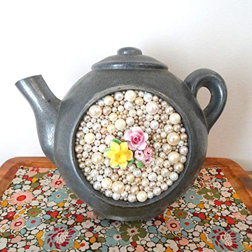 Metal Tea Pot 3d Art - Pearl Bead Mosaic Wall Hanging - Vintage Clock Re-purposed - Staffordshire Brooch - Rose, Daffodil Art - Kitsch,Retro from Berry Island