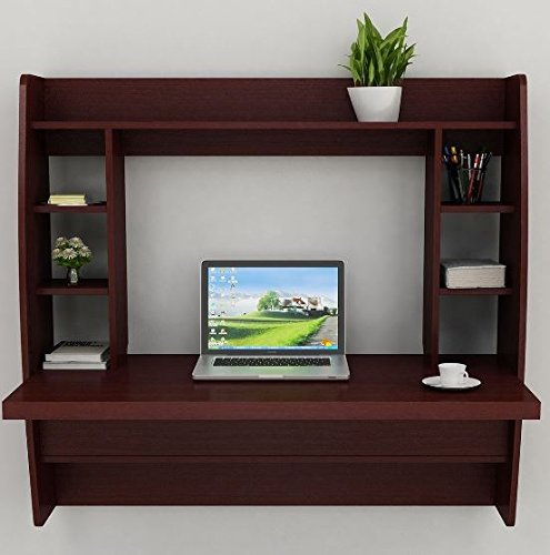 K&A Company Office Wall Computer Desk Floating Home Storage Mount Shelf White Furniture Room Mounted Table With Fold Out Keyboard Brown