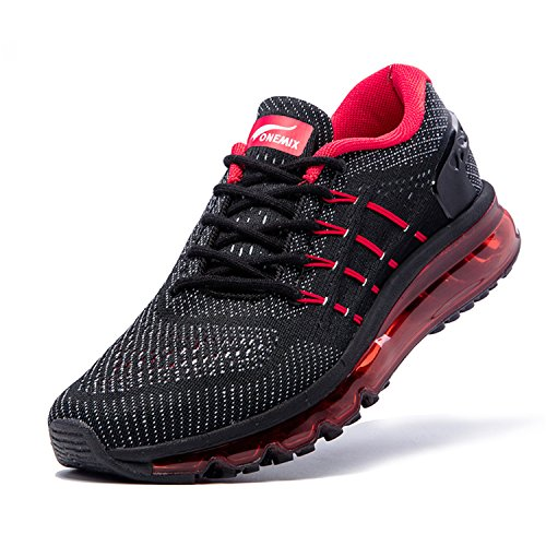 Onemix Zapatos para Correr en Montaña y Asfalto Aire Libre y Deportes Zapatillas de Running Padel para Hombre Negro / Rojo
