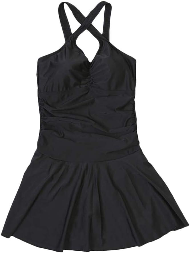 ملابس السباحة BESPorTBLE الرياضية بأربطة مع سروال أمان قطعة واحدة بيكيني كبير للتخسيس بدون ظهر للنساء والفتيات (أسود، مقاس XXL)